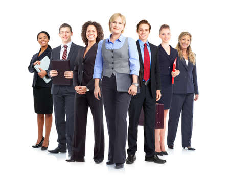 group study: Business people team.  Isolated over white background.