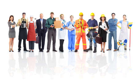 woman work: Large group of workers people. Isolated over white background.