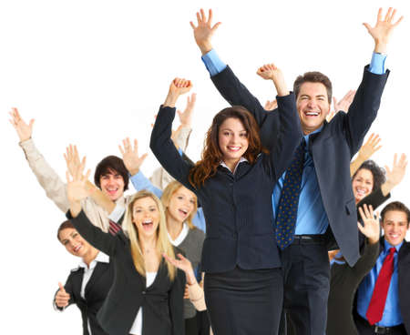 large: Large group of happy business peole. Isolated over white background.