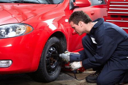 pneumatic: Tire changing Stock Photo