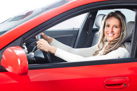 woman driving: woman  in the car