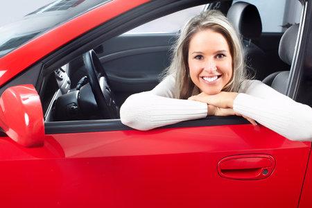 positivismo: mujer en el coche Foto de archivo