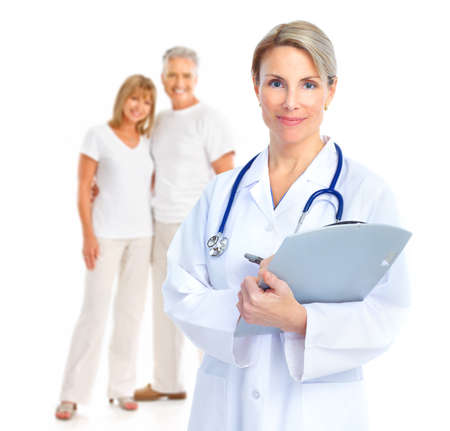 medico con paciente: Par de m�dico y senior.  Aislados sobre fondo blanco. Foto de archivo