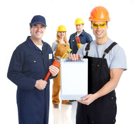 plackard: Workers people team.  Isolated over white background. Stock Photo