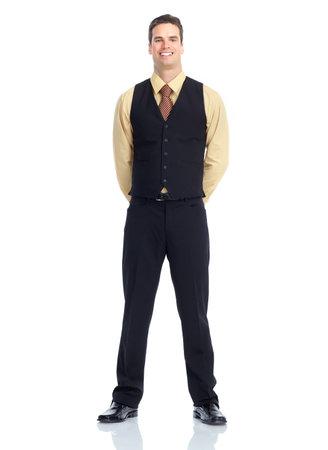Waiter man.  Isolated over white background. Stock Photo - 9138793