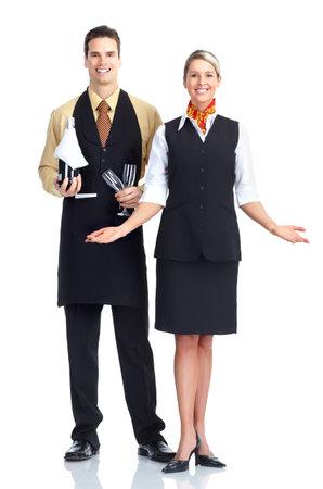 Serveur homme et femme.  Isolé sur fond blanc. Banque d'images - 9139356