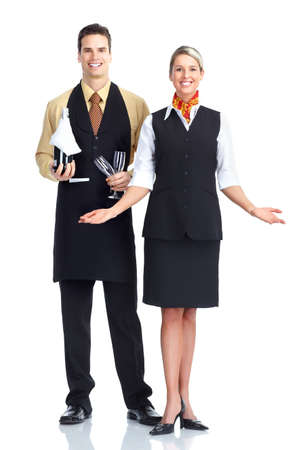 Waiter man and woman.  Isolated over white background. 스톡 콘텐츠