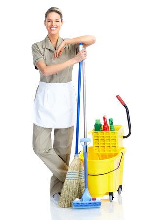 cleaners: Schoonmaakster.  Geïsoleerd op witte achtergrond.