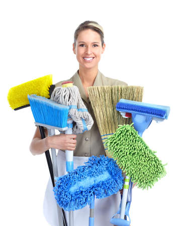 charwoman: Cleaner woman.  Isolated over white background.
