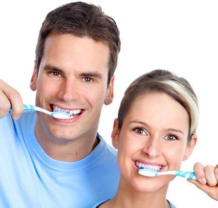 toothbrushing: People with tooth brush.  Isolated over white background.