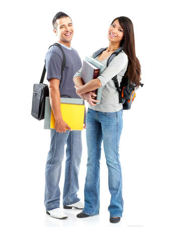 college: Students.  Isolated over white background.