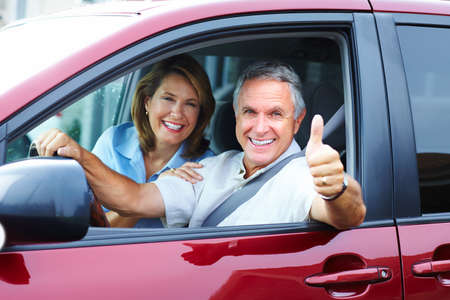 Senior couple in the car. Stock Photo - 9129959