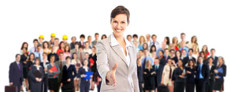 Businesswoman and large group of business people. Isolated over white background. photo