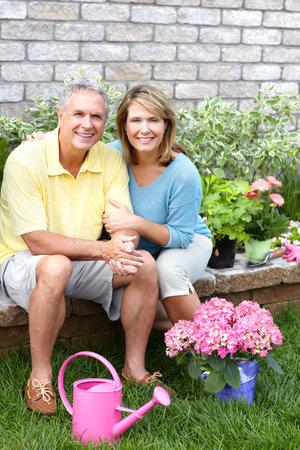 Senior couple.  Garedening photo