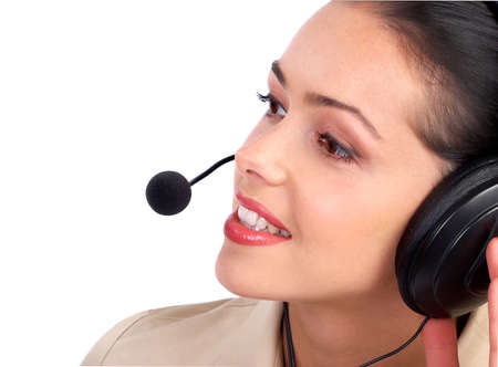 Call Center Operator.  Isolated over white background. Stock Photo - 9138787