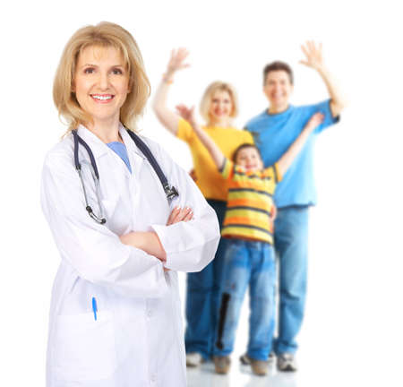 family health: Family doctor. Isolated over white background. Stock Photo