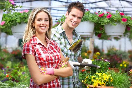 Florist. People in the garden. photo