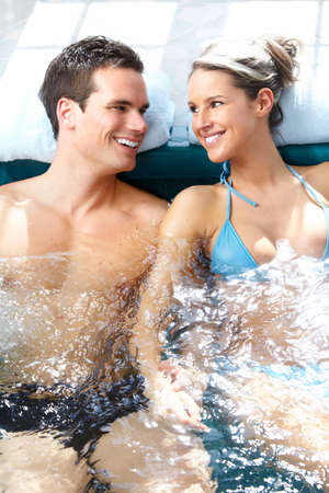 resting: Couple in jacuzzi