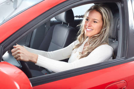 new motor vehicles: woman  in the car