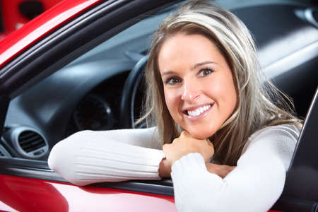 new motor car: woman  in the car