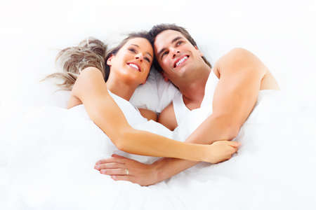 lovers in bed: couple Stock Photo