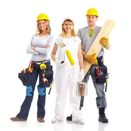 perforate: Workers people team.  Isolated over white background. Stock Photo