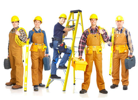 Workers people team.  Isolated over white background. photo