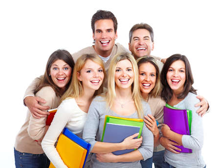 Students people.  Isolated over white background. Stock Photo - 9367325