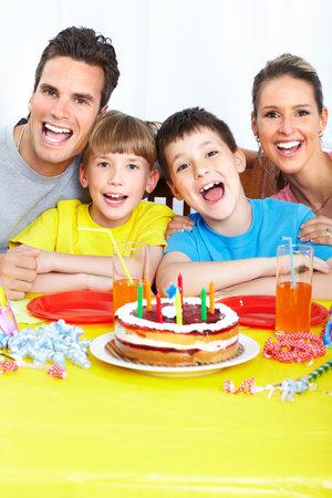 grand son: Happy family at home. Birthday.