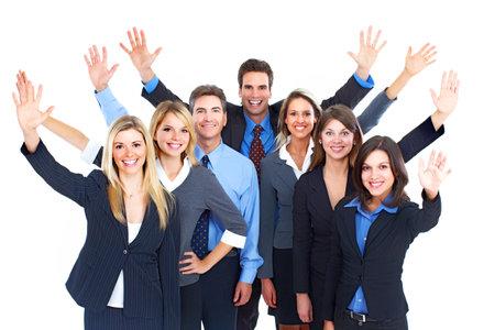 la gente de trabajo: Equipo de personas de negocios.  Aislados sobre fondo blanco. Foto de archivo