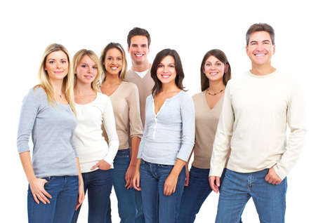 all smiles: Happy people. Isolated over white background.
