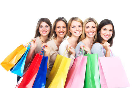 beauty shop: Shopping women. Isolated over white background.