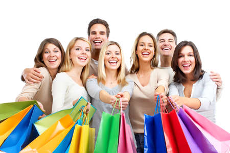 man isolated: Shopping people. Isolated over white background.