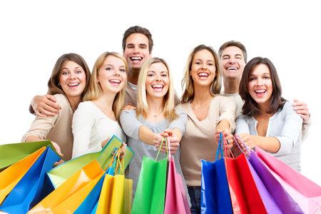 white isolate: Shopping people. Isolated over white background.