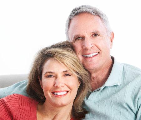 older women: Senior couple.  Isolated over white background.