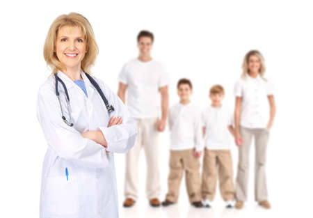 family practitioner: Doctor and family.  Isolated over white background.