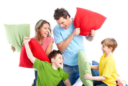 pillow fight: Happy family