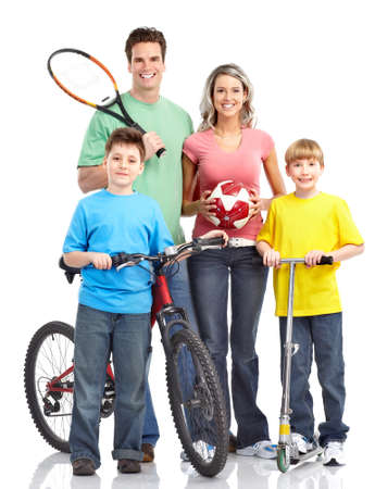 Happy sportive family photo