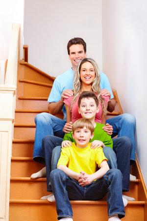 sofa: Happy family.
