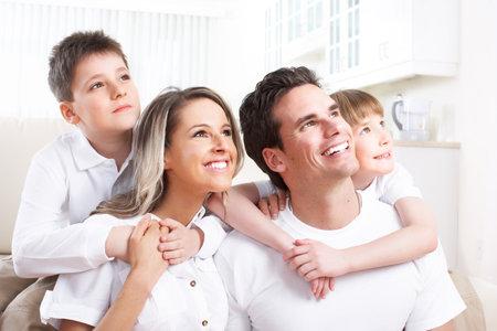 family sofa: Happy family.