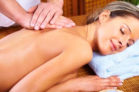 massage hands: spa massage Stock Photo