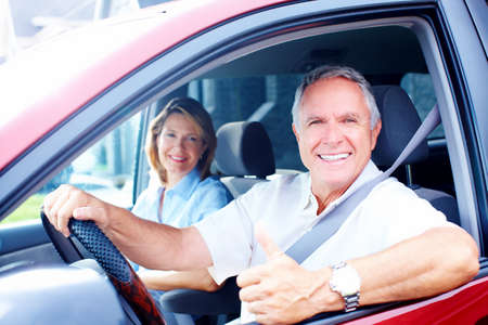 Senior couple in the car photo
