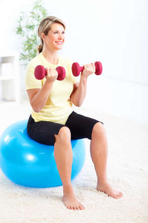home gym: Happy woman
