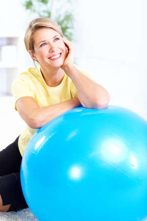 home gym: Fitness woman Stock Photo