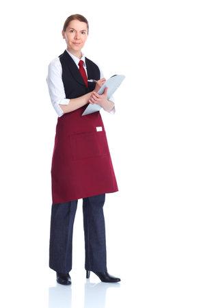 jasschort: serveerster vrouw Stockfoto