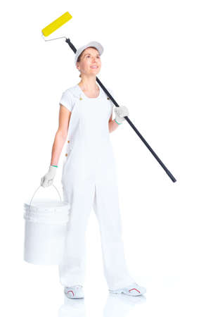 home decorating: Painter woman Stock Photo