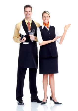 waitresses: waiter and waitress Stock Photo