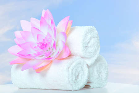 towel  spa  bathroom: spa massage Stock Photo