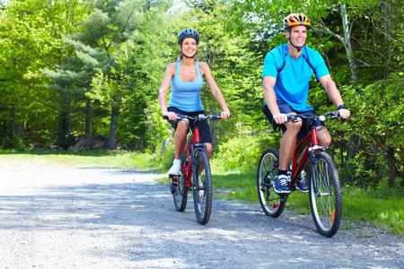 biking: Riding couple.