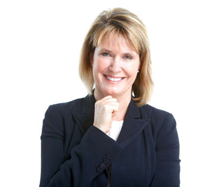 Business woman.  Isolated over white background. photo